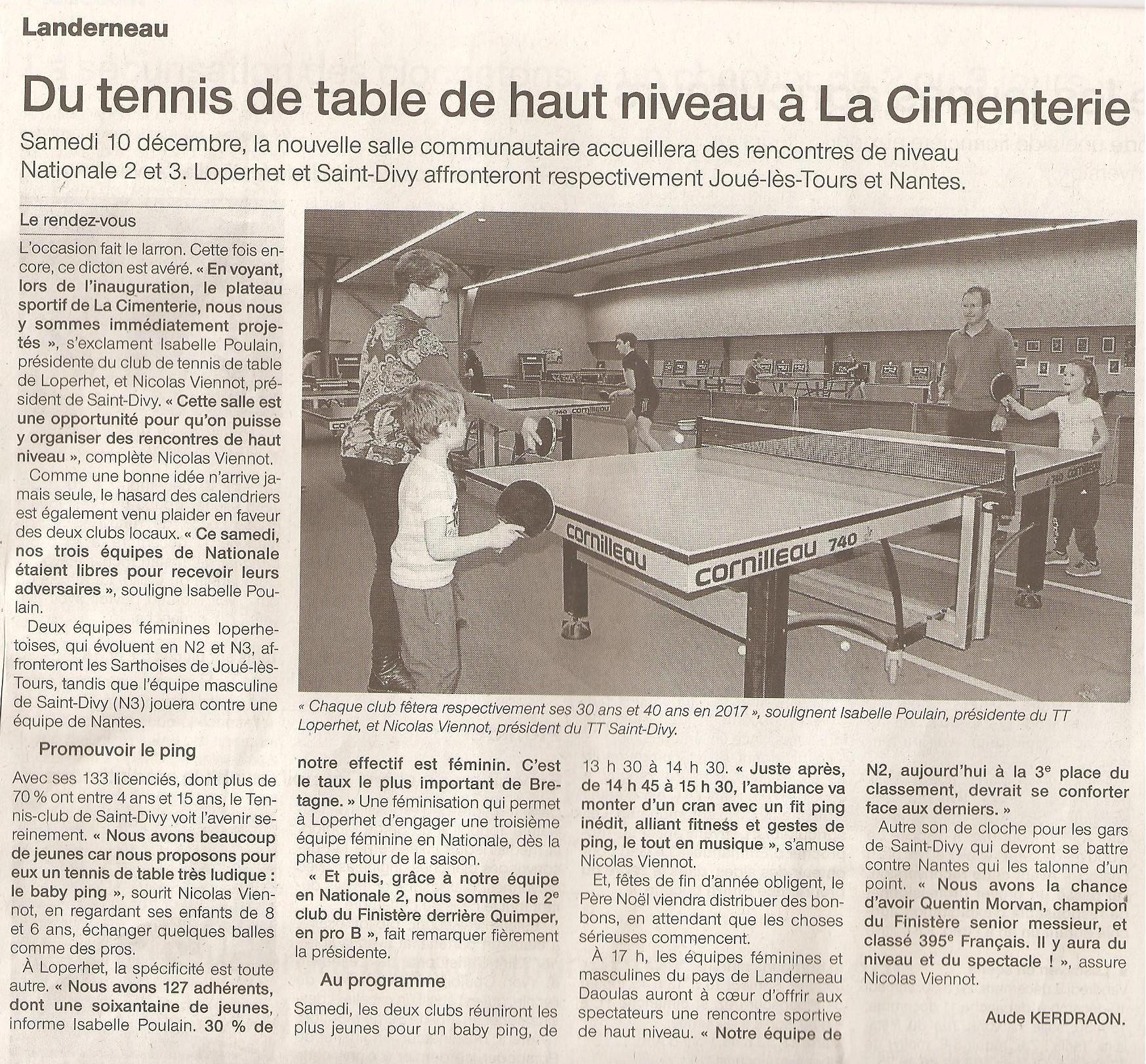 V nement match de nationale 3 la cimenterie sdstt - Ligue de bretagne de tennis de table ...